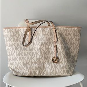 White monogram MK tote. Gently used